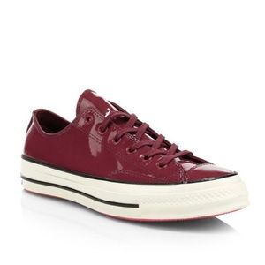 NIB CONVERSE Burgundy Patent Leather Chuck 70 SZ 9